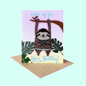 Lazy Sloth Birthday Card
