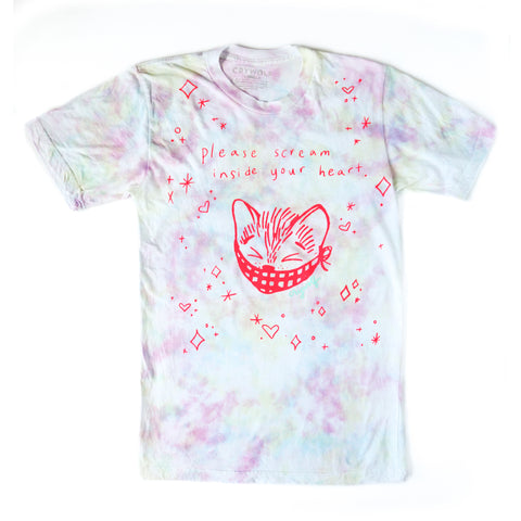 Scream Inside Your Heart Kitty Tie Dye Tshirt