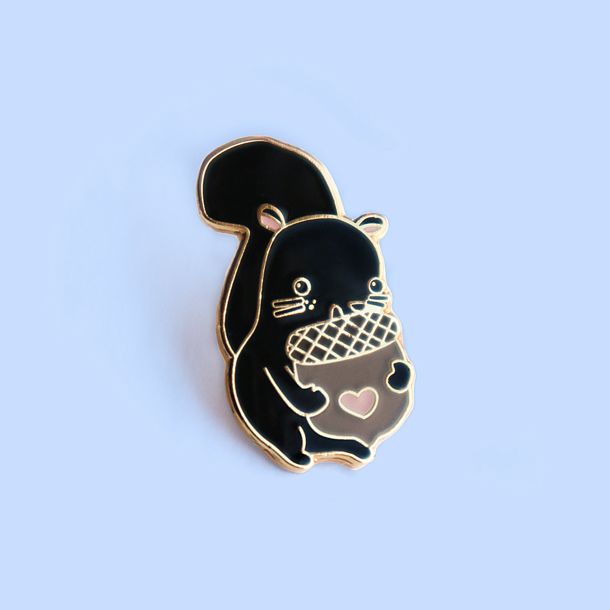 Black Squirrelly Lapel Pin