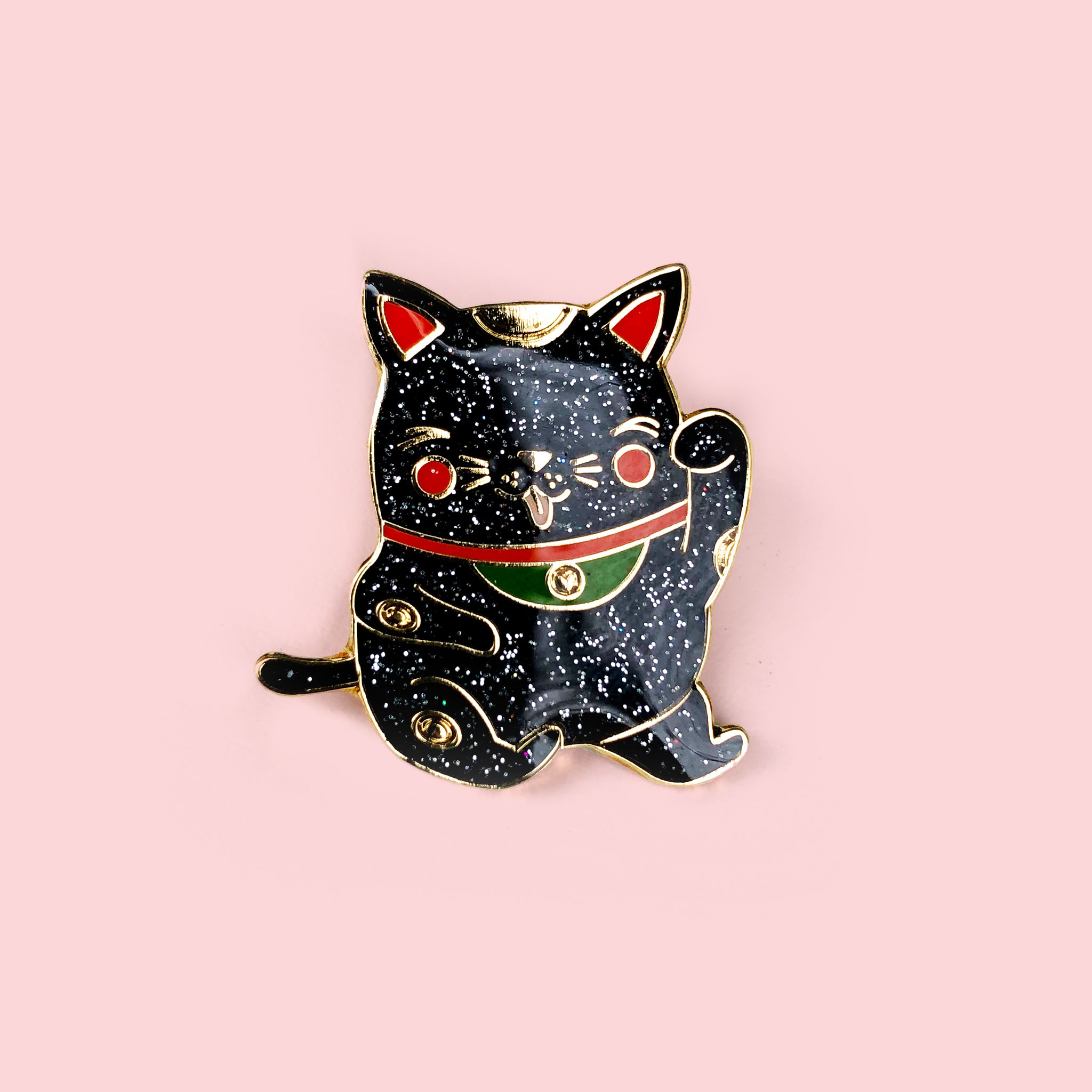 Lucky Maneki Lapel Pin (black sparkle)