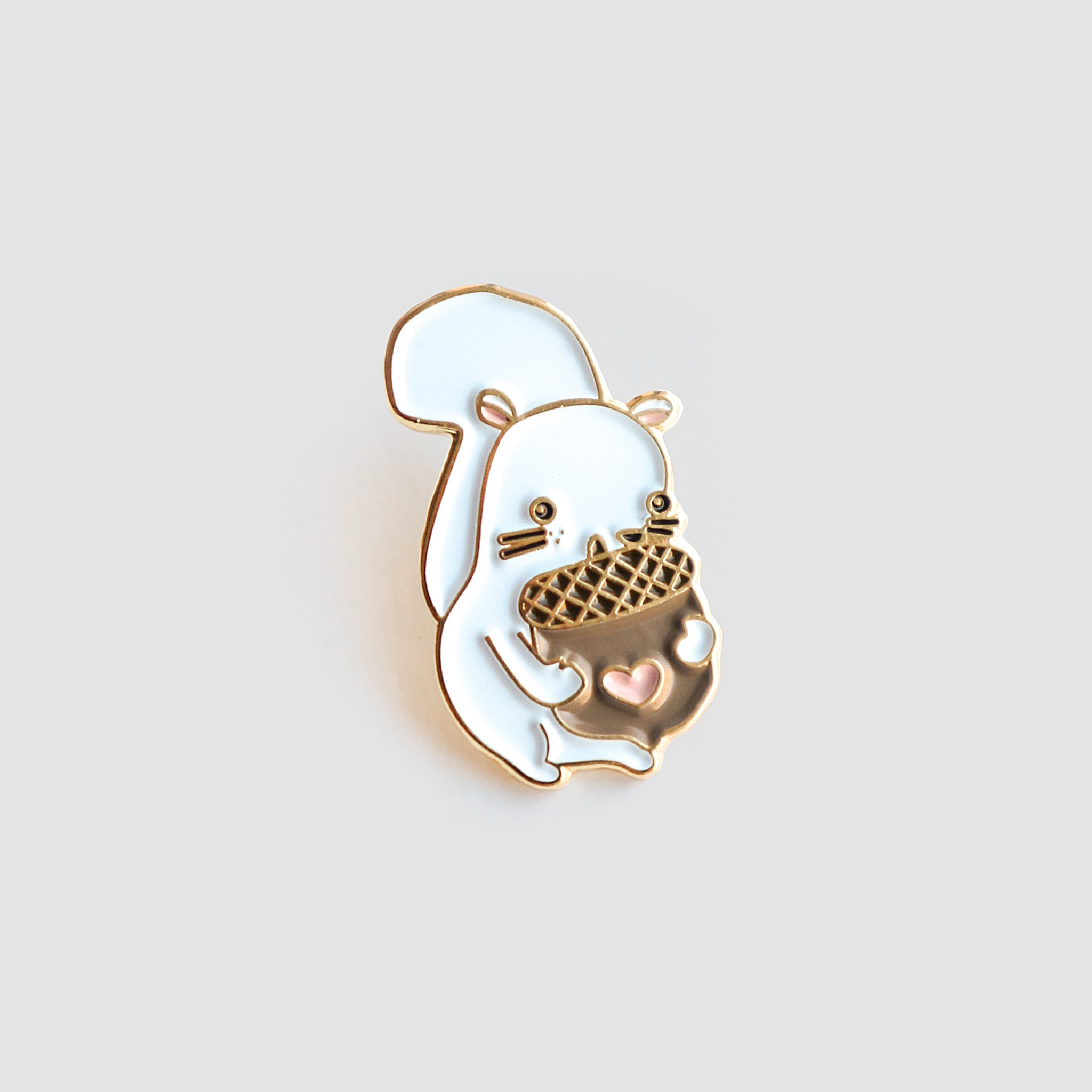 White Squirrelly Lapel Pin