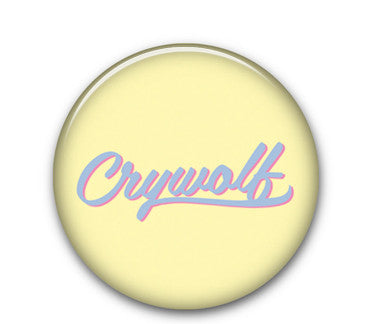 "Crywolf text Yellow 1.25"" button"