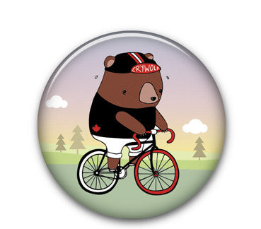 "Fixie Bear 1.25"" button"