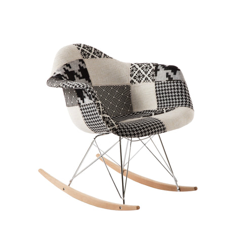 Edith Rocking Chair - Black And White Patchwork
