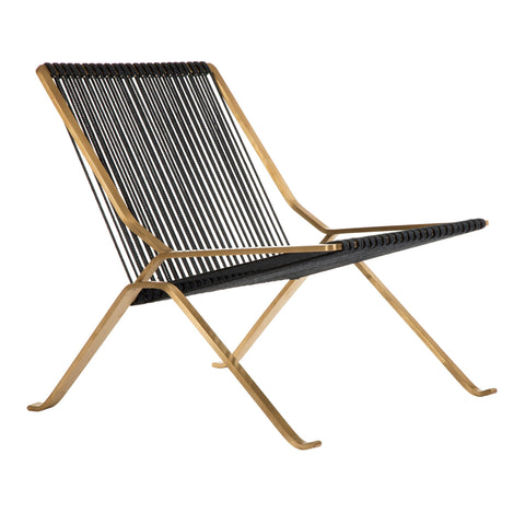 PK25 Chair in Black in Brushed Gold