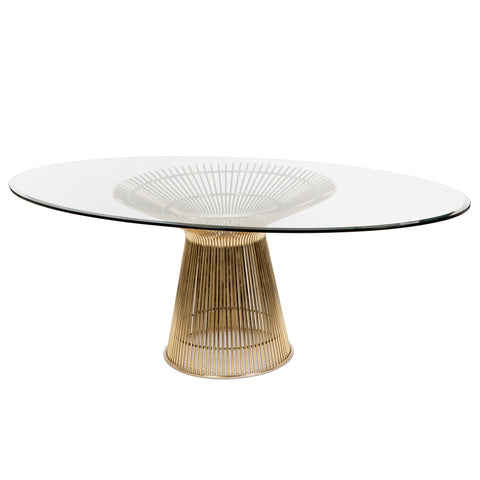 "Platner Dining Table in Gold 42"" x 72"" Oval"