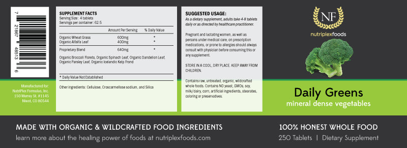 NutriPlex Foods: Daily Greens label