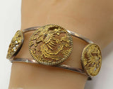 925 Sterling Silver - Vintage Ancient Chinese Art Animal Cuff Bracelet - B2224