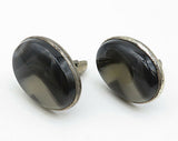 925 Sterling Silver - Vintage Oval Large Cat's Eye Cuff Links - T1251