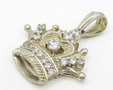 925 Silver - Vintage Cubic Zirconia Heavy Royal Crown Drop Pendant - P4164