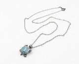 SOUTHWESTERN 925 Silver - Vintage Turquoise Turtle Motif Chain Necklace - N2100