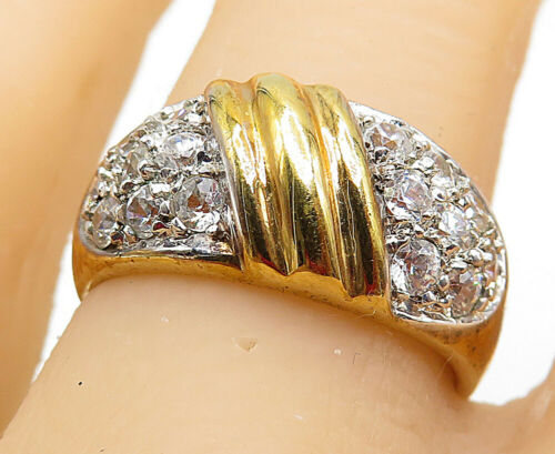 925 Silver - Round Cut Cubic Zirconia Gold Plated Smooth Band Ring Sz 8 - R9118