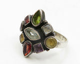 925 Sterling Silver - Vintage Multi-Cut Gemstones Solitaire Ring Sz 6 - R4727