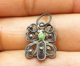 925 Silver - Vintage Carnelian Accented Petite Filigree Butterfly Pendant- P4988