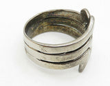 925 Sterling Silver - Vintage Modernist Wave Design Split Band Ring Sz 8 - R6994