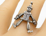 925 Sterling Silver - Vintage Smiling Clown Charm Band Ring Sz 8 (MOVES) - R6955