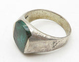 MEXICO 925 Silver - Malachite Inlay Square Smooth Cocktail Ring Sz 10 - R6983
