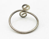 925 Sterling Silver - Vintage Petite Swirled Adjustable Band Ring Sz 8 - R6875