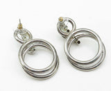 925 Sterling Silver - Vintage Twist Detail Double Hoop Dangle Earrings - E5217