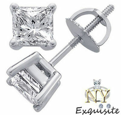 CERTIFIED 1.50ct  PRINCESS CUT F/VS2 GENUINE DIAMONDS IN 14K GOLD STUDS EARRINGS