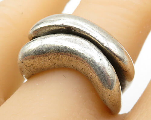 925 Sterling Silver - Vintage Heavy Wavy Sliced Band Ring Sz 7 - R1998