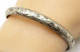 925 Sterling Silver - Vintage Floral Vine Etched Bangle Bracelet - B4568