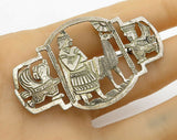 925 Sterling Silver - Vintage Antique Tribal Scene Artwork Brooch Pin - BP1503