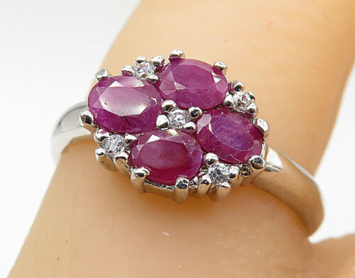 925 Sterling Silver - Petite Ruby Topaz Accent Cluster Ring Sz 7 - R7304