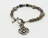 925 Sterling Silver - Vintage Beaded Multicolor Gemstones Celtic Bracelet B1919