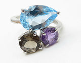 925 Sterling Silver - Prong Set Multi-Gemstone Thin Band Custer Ring Sz 8- R7254