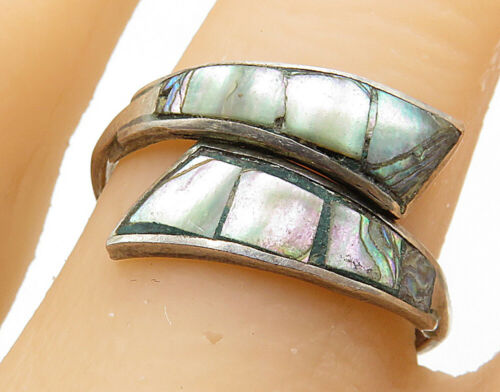 MEXICO 925 Silver - Vintage Abalone Inlay Bypass Band Ring Sz 8 - R7209