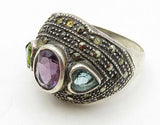 925 Sterling Silver - Vintage Multi Gemstone Love Hearts Band Ring Sz 9 - R7188
