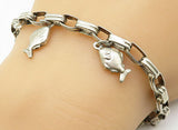 925 Sterling Silver - Vintage Swimming Fish Charmed Chain Bracelet - B4522