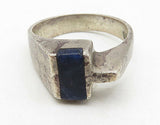 MEXICO 925 Silver - Vintage Black Onyx Inlay Modernist Band Ring Sz 8 - R7164