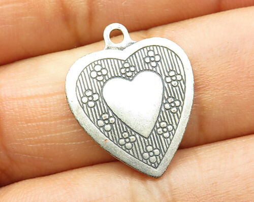 925 Sterling Silver - Vintage Retro Floral Love Heart Design Pendant - P3274
