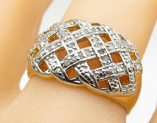 925 Silver - Genuine Diamonds Gold Plated Basket Weave Band Ring Sz 9 - R8676