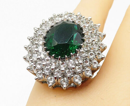 925 Silver - Green Topaz & Cubic Zirconia Sparkling Cocktail Ring Sz 6 - R9117