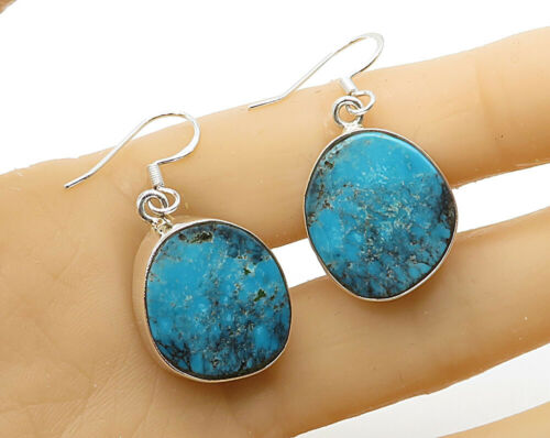 925 Sterling Silver - Vintage Bezel Set Inlay Turquoise Drop Earrings - E2751