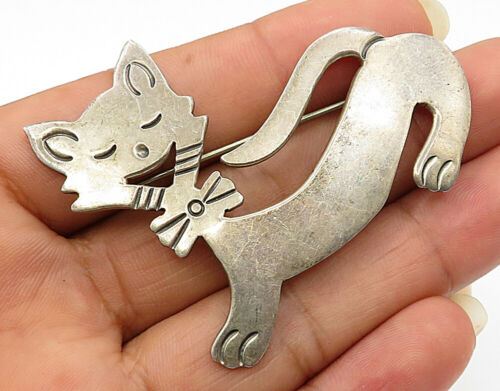 MEXICO 925 Sterling Silver - Vintage High Class Kitty Detail Brooch Pin - BP1738