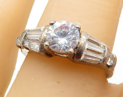925 Silver - Vintage Cubic Zirconia Solitaire With Accents Ring Sz 8 - R7193