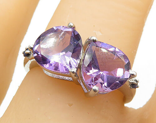 925 Sterling Silver - Tear Drop Shaped Amethyst 2 Stone Band Ring Sz 7.5 - R7269