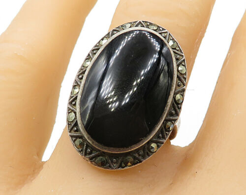 925 Sterling Silver - Vintage Black Onyx & Marcasite Cocktail Ring Sz 7 - R4573