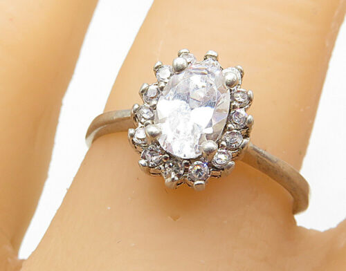 925 Silver - Oval Cut Cubic Zirconia Solitaire With Accents Ring Sz 8 - R7206
