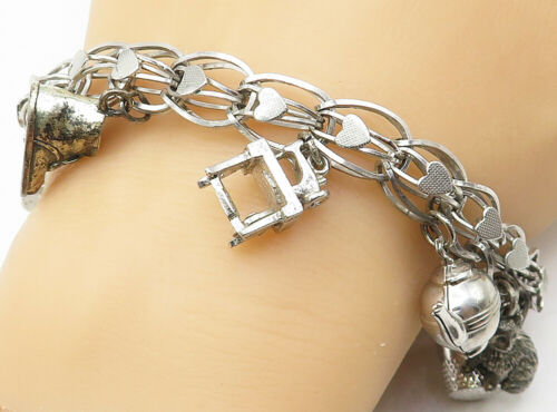 925 Silver - Vintage Assorted Charms Love Heart Cage Link Chain Bracelet - B5157