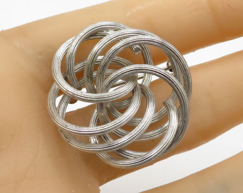 925 Sterling Silver - Vintage Multiple Interlocked Ring Brooch Pin - BP1435