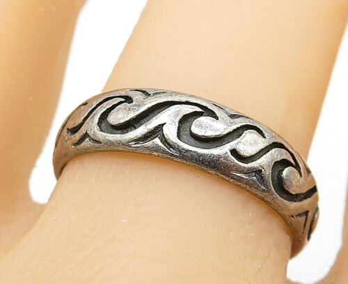 PETER STONE 925 Silver - Vintage Swirly Wave Pattern Band Ring Sz 10 - R8732