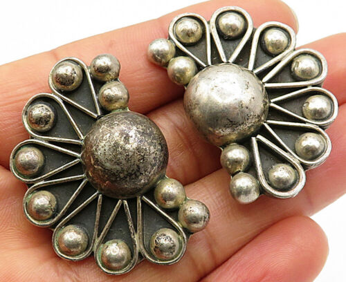 MEXICO 925 Silver - Vintage Modernist Ball Beaded Fan Clip-On Earrings - E3924