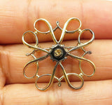 925 Sterling Silver - Vintage Two Tone Gold Plated Floral Brooch Pin - BP3177