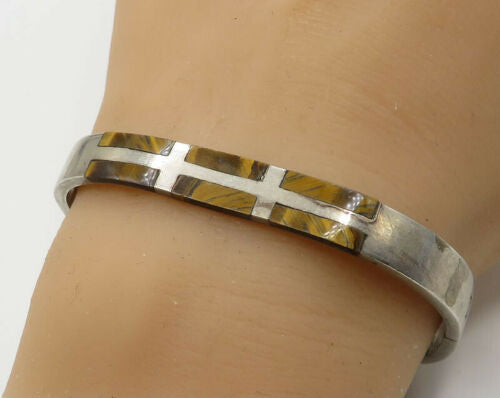 MEXICO 925 Silver - Vintage Tigers Eye Paneling Detail Bangle Bracelet - B2206