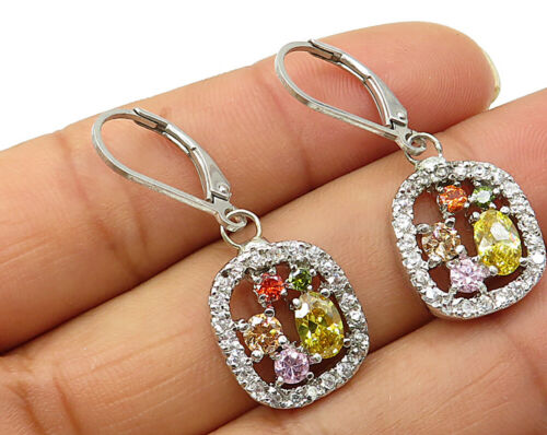 925 Sterling Silver - Vintage Multi Color Cubic Zirconia Dangle Earrings - E3064